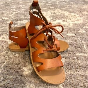 GAP Factory Lace Up Gladiator Sandals Cognac